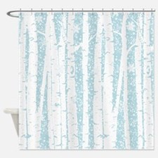 White Birch Trees Blue Sky Shower Curtain