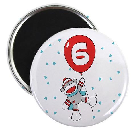 Sock Monkey 6th Birthday Magnet