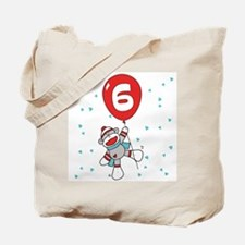 Sock Monkey 6th Birthday Tote Bag