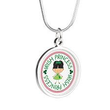 Irish Princess Girl Silver Round Necklace