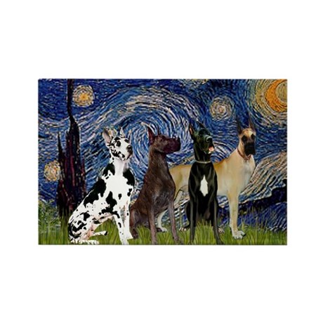 Starry Night & 4 Great Danes Rectangle Magnet