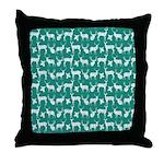 Deer on Teal Throw Pillow