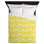 Deer on Yellow Queen Duvet