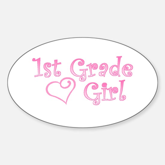 1ST GRADE GIRL Oval Decal