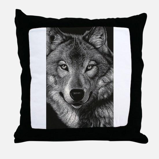 Wolf Sketch Throw Pillow