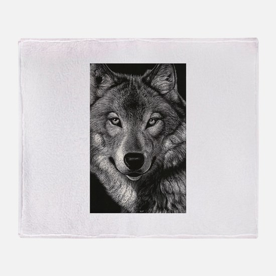 Wolf Sketch Throw Blanket