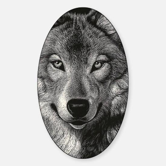 Wolf Sketch Sticker (Oval)