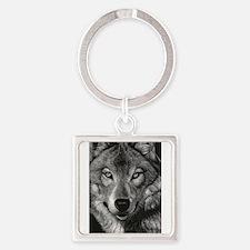 Wolf Sketch Square Keychain