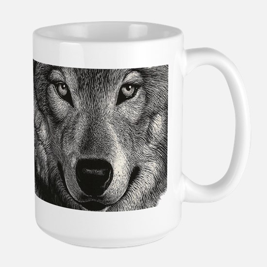 Wolf Sketch Large Mugs