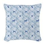 Deer and Blue Scrolls Woven Throw Pillow