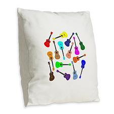Rainbow Ukuleles Burlap Throw Pillow