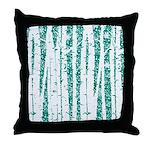 White Birch Trees Teal Throw Pillow
