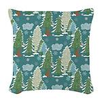 Red Fox Winter Wonderland Woven Throw Pillow