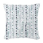 Blue Dots on Vertical Lines Woven Throw Pillow