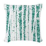 White Birch Trees Teal Woven Throw Pillow