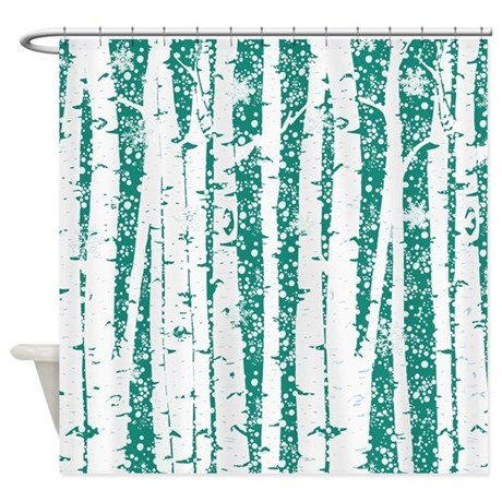 White Birch Trees Teal Shower Curtain By Peacockcards