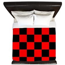 Bright red and black checkerboard King Duvet