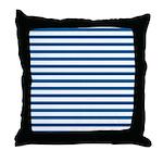 Blue and White Horizontal Stripes Throw Pillow