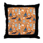 Nautical Ocean Orange Throw Pillow