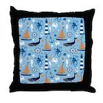 Nautical Ocean Light Blue Throw Pillow