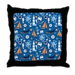 Nautical Ocean Blue Throw Pillow