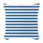 Blue and White Horizontal Stri Woven Throw Pillow