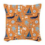 Nautical Ocean Orange Woven Throw Pillow