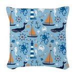 Nautical Ocean Light Blue Woven Throw Pillow
