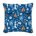 Nautical Ocean Blue Woven Throw Pillow