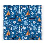 Nautical Ocean Blue King Duvet