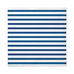 Blue and White Horizontal Stripes Queen Duvet