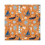 Nautical Ocean Orange Queen Duvet