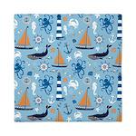 Nautical Ocean Light Blue Queen Duvet