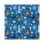 Nautical Ocean Blue Queen Duvet