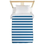 Blue and White Horizontal Stripes Twin Duvet