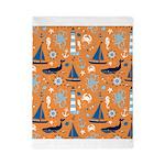 Nautical Ocean Orange Twin Duvet
