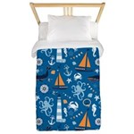 Nautical Ocean Blue Twin Duvet