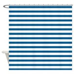 Blue and White Horizontal Stripes Shower Curtain