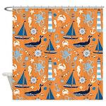 Nautical Ocean Orange Shower Curtain