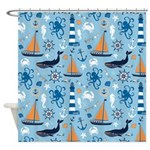 Nautical Ocean Light Blue Shower Curtain