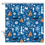 Nautical Ocean Blue Shower Curtain