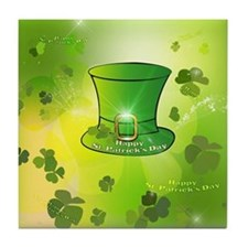St. Patrick's Day, green hat Tile Coaster