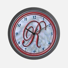 MaroonMonogram R Wall Clock