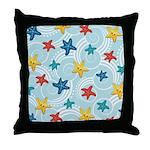 Starfish in Swirly Ocean Throw Pillow