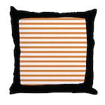 Orange White Horizontal Stripes Throw Pillow