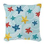 Starfish in Swirly Ocean Woven Throw Pillow