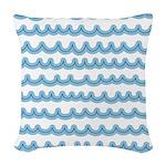 Whimsical Ocean Waves Woven Throw Pillow