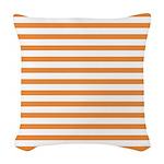 Orange White Horizontal Stripe Woven Throw Pillow