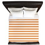 Orange White Horizontal Stripes King Duvet