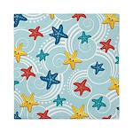 Starfish in Swirly Ocean Queen Duvet